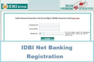 IDBI Net Banking Registration